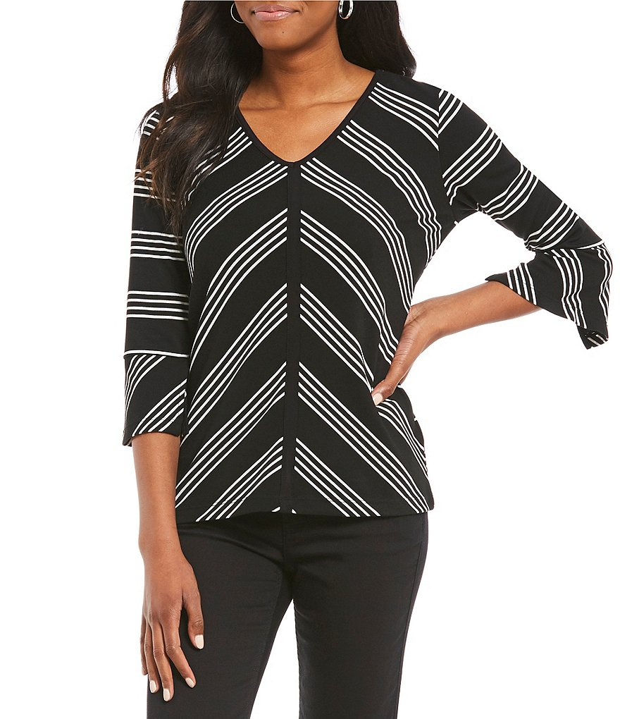 Jones New York Mitered Stripe Knit Jersey V-Neck 3/4 Sleeve Slit Cuff Top