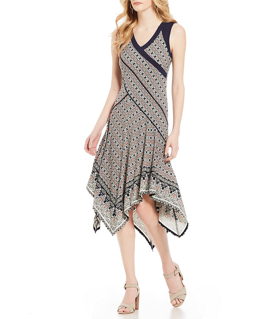 Jones New York Mitered Tile Border Print Matte Jersey Handkerchief Hem Dress