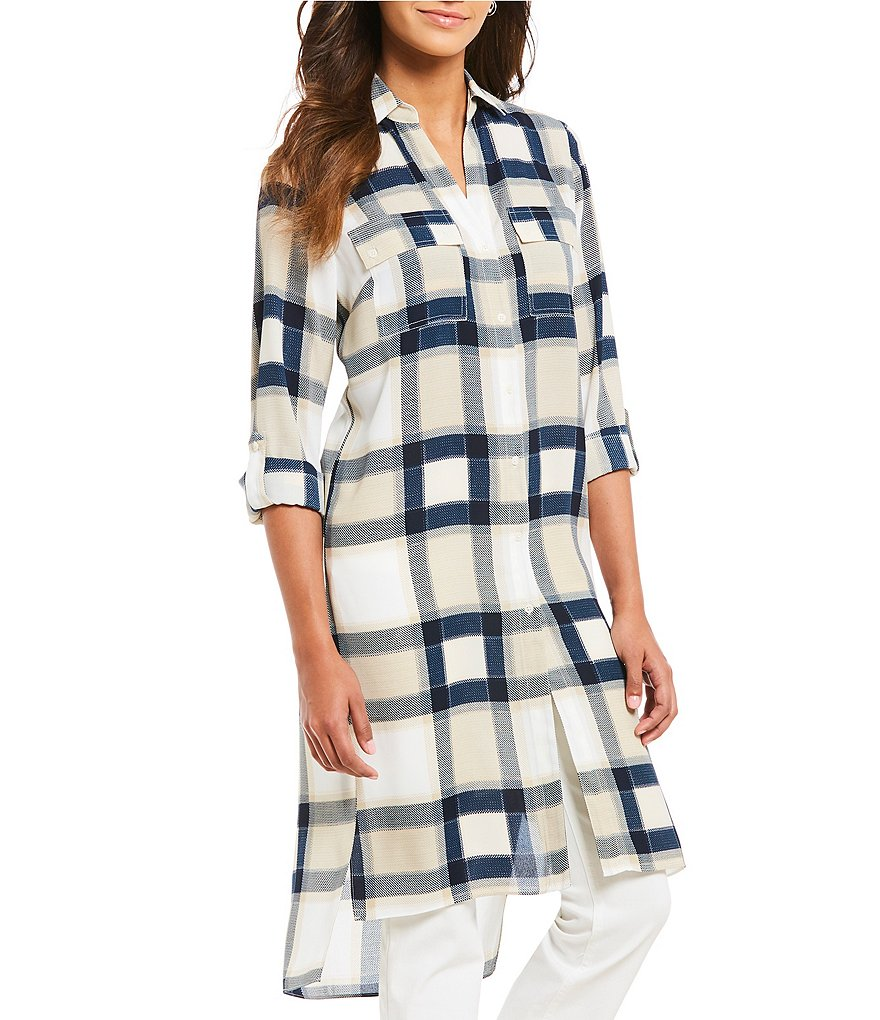 Jones New York Plaid Print Button-Front Roll Sleeve Hi-Low Hem Tunic