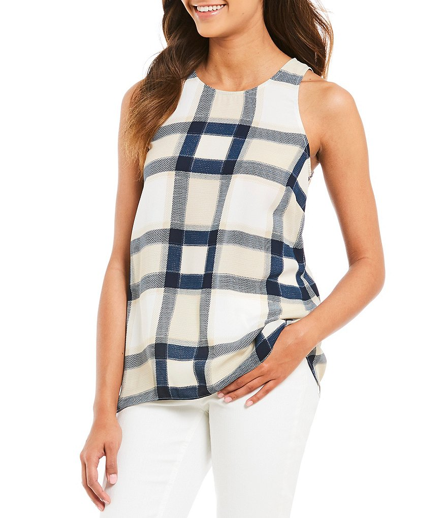 Jones New York Plaid Print Crew Neck Split Back Hi-Low Hem Tank Top
