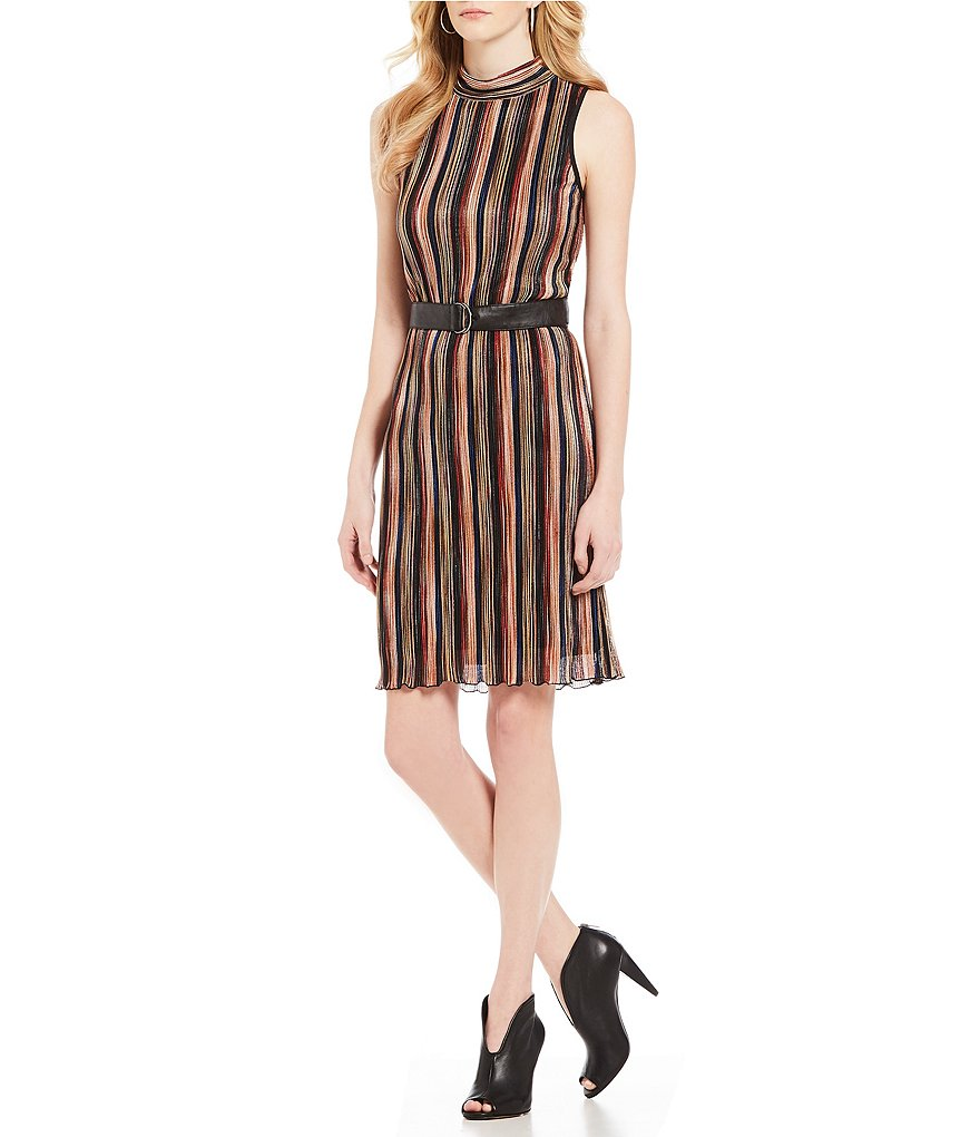 Jones New York Pleated Multi Stripe A-Line Mock Neck Dress