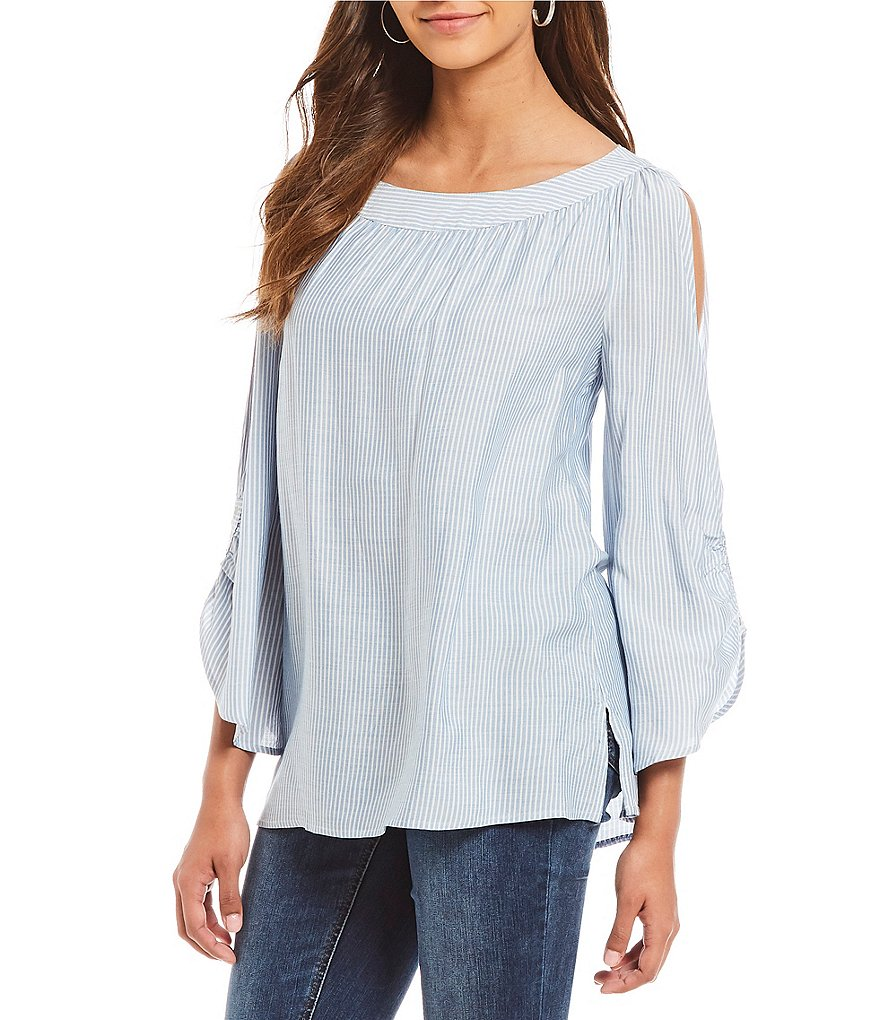 Jones New York Rivet Trim Stripe Cold Shoulder Split Bell Sleeve Top