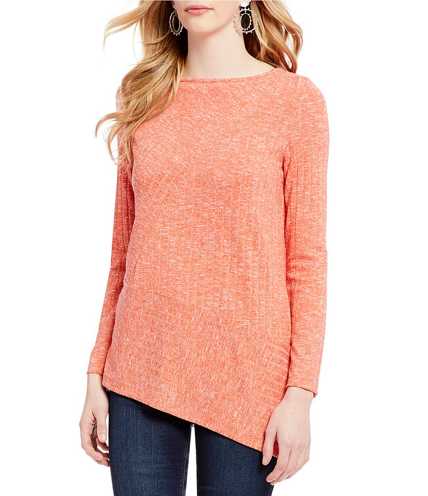 Jones New York Seamed Rib Knit Boat Neck Angle Hem Top