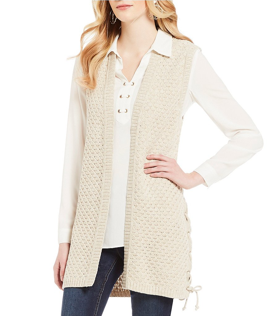 Jones New York Side Seam Grommet Lace-Up Textured Weave Sweater Vest
