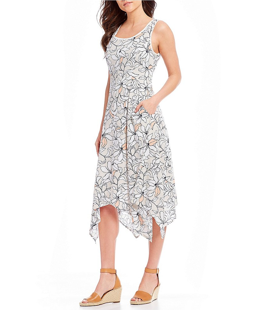 Jones New York Sketched Floral Print Sleeveless Handkerchief Hem A-Line Midi Dress