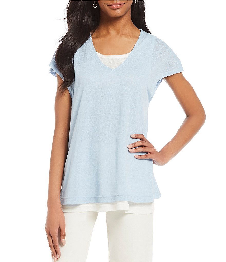Jones New York Slub Knit Jersey Contrast Layered Hem Top