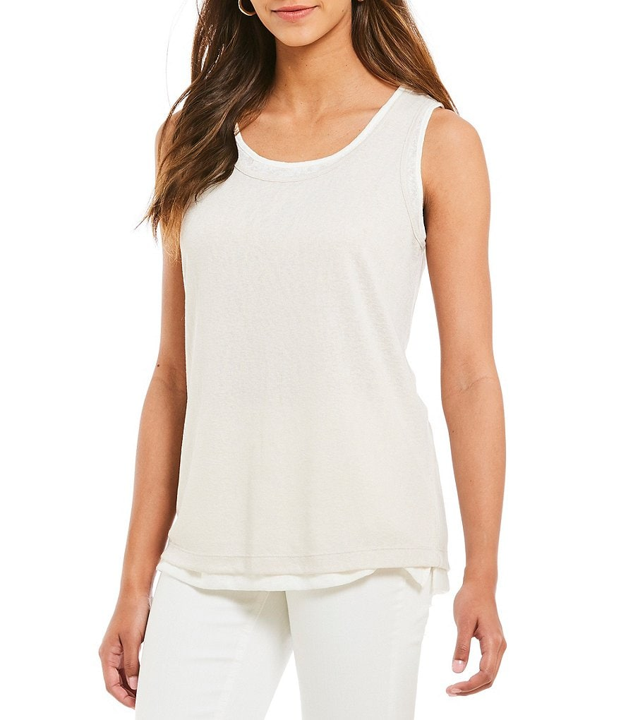 Jones New York Slub Knit Jersey Scoop Neck Layered Hem Tank Top