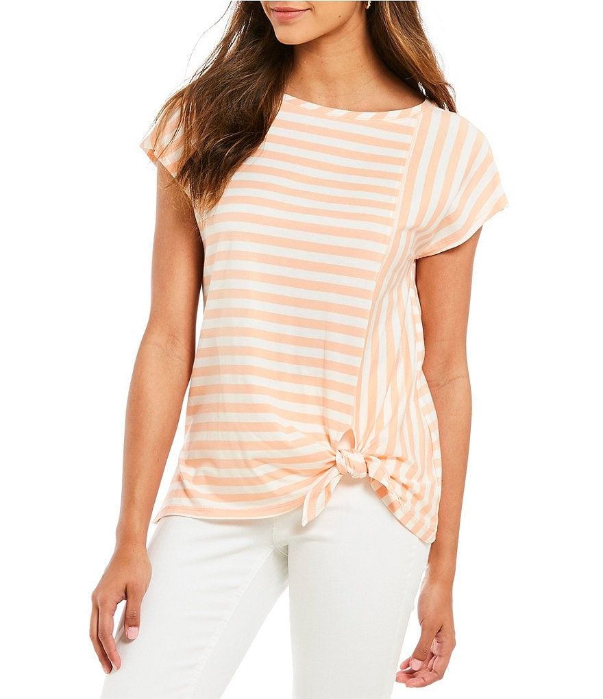 Jones New York Stripe Knit Jersey Seamed Tie Front Knot Tee