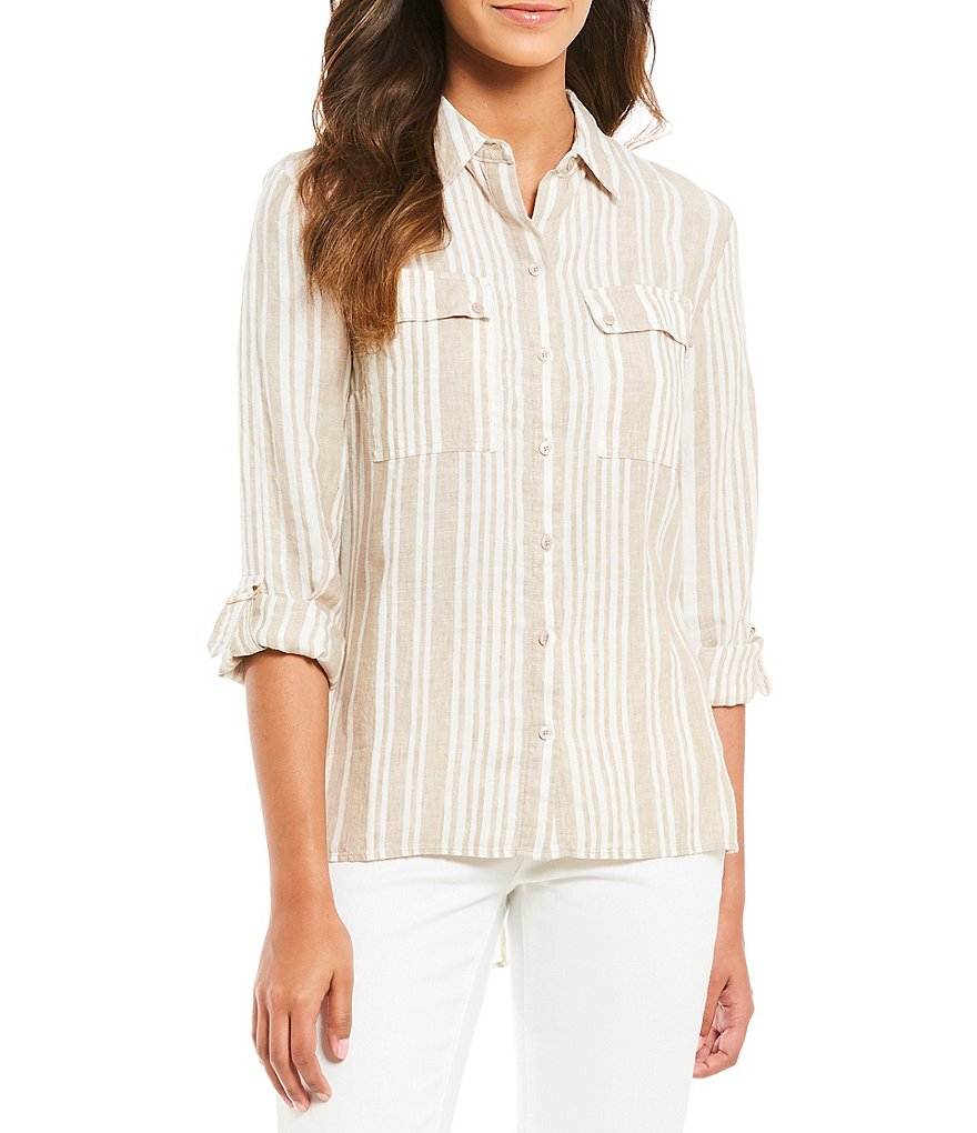 Jones New York Stripe Linen D-Ring Roll Tab Hi-Low Hem Shirt