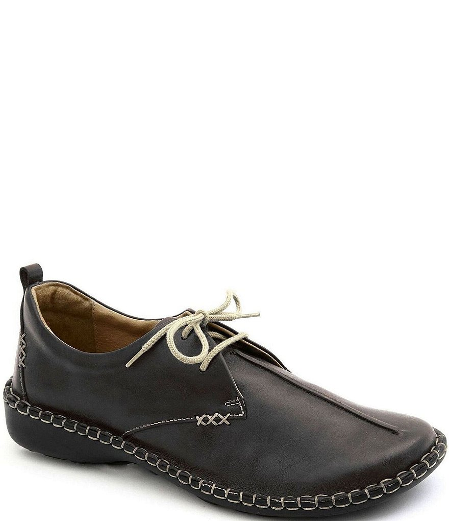 Josef Seibel Lindsay Leather Stitch Detail Lace Up Block Heel Loafers
