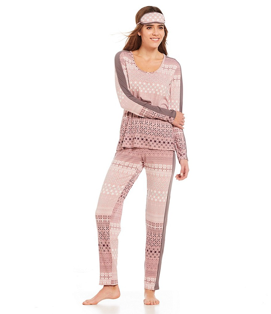 Josie Slumber Party Peached Knit Pajamas with Eyemask