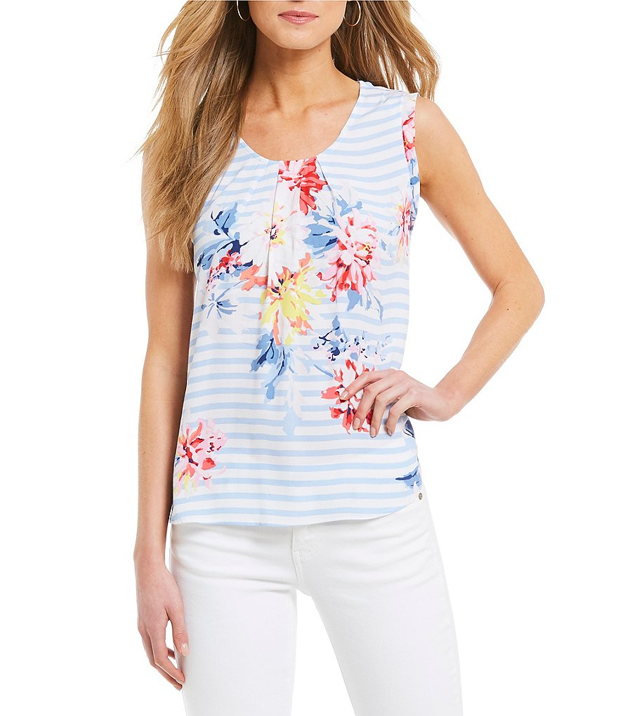 Joules Alyse Floral Print Stripe Shell Top