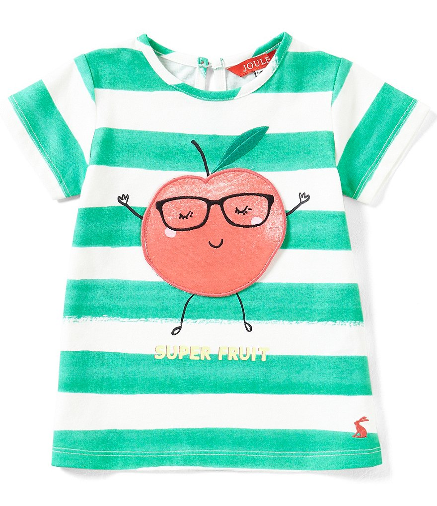 Joules Baby/Little Girls 12 Months-3T Striped Apple-Appliqué Tee
