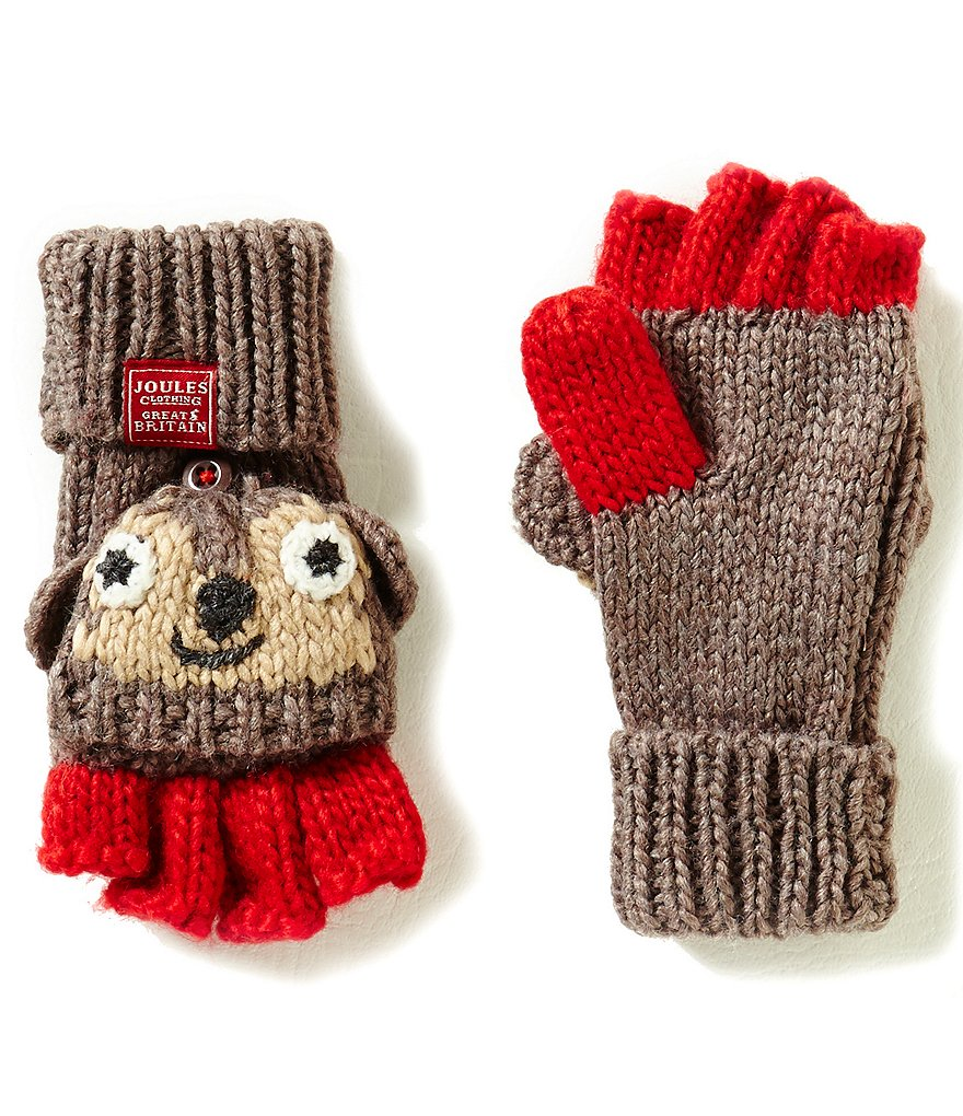 Joules Boys Hand Stitched Monkey Character Fingerless Gloves