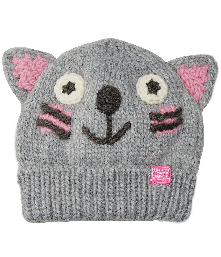 Joules Girls Hand Stitched Cat Character Beanie Hat