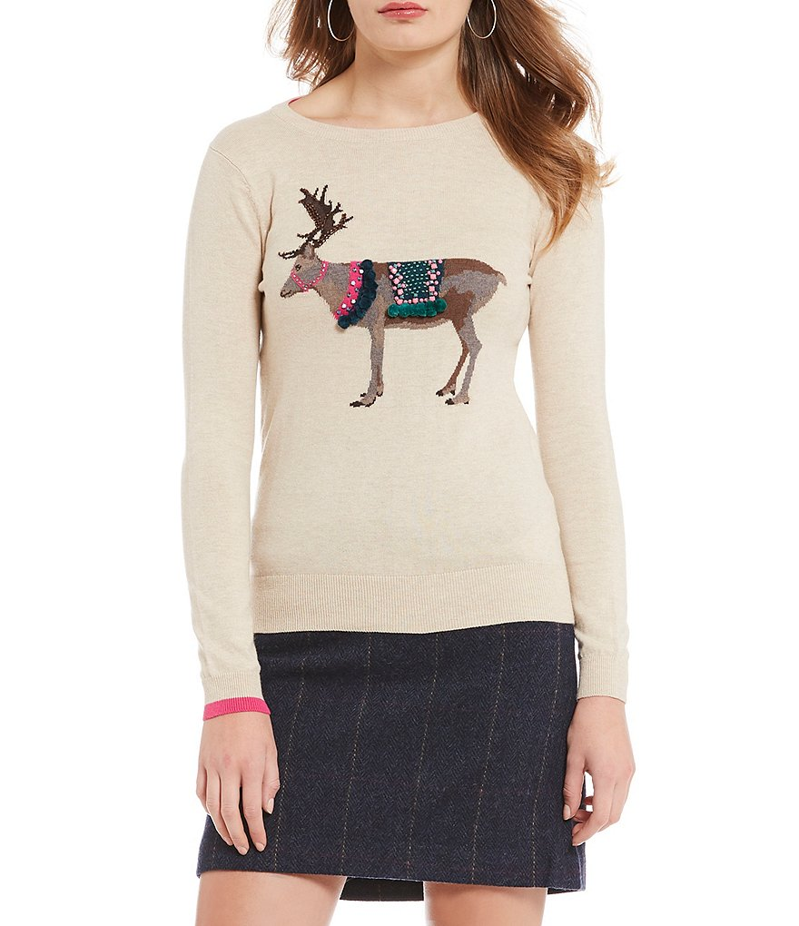 Joules Embellished Reindeer Holiday Christmas Sweater