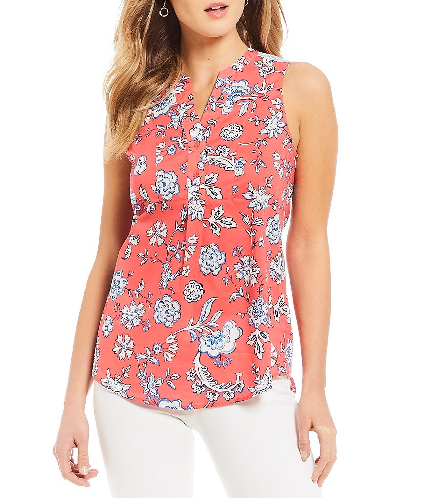 Joules Zinnia Sleeveless Floral Print Blouse