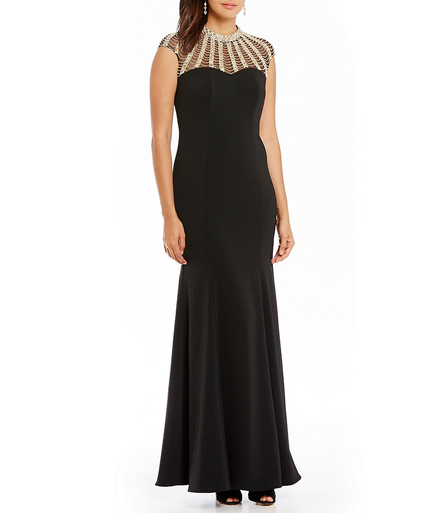 JS Collections Beaded High Neck Crepe Gown