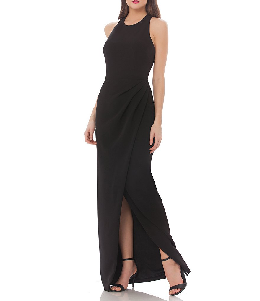 JS Collections Cut Out Back Crepe Gown