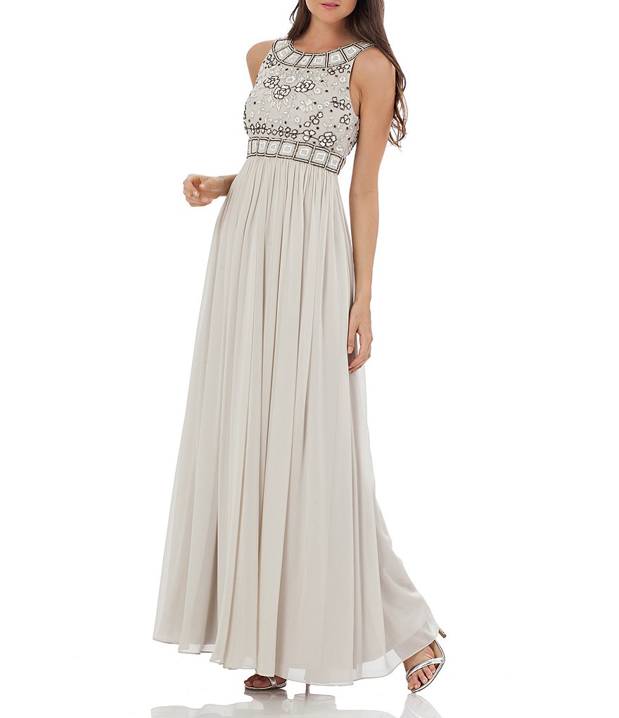 JS Collections Grecian Georgette Floral Beaded Gown