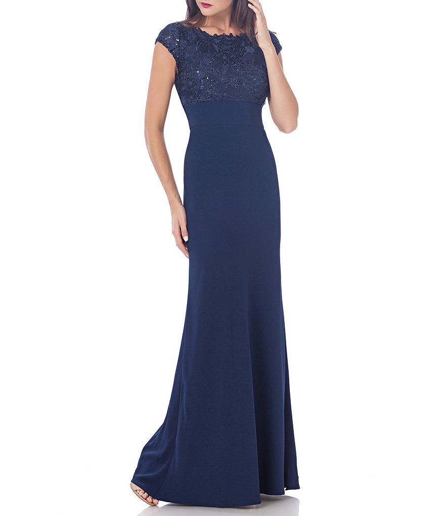 JS Collections Guipure Round Neck Cap Sleeve Lace and Sequin Crepe Gown