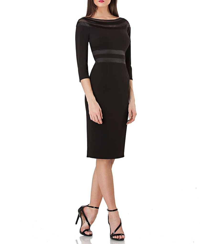 JS Collections Illusion Neck Sheath Dress