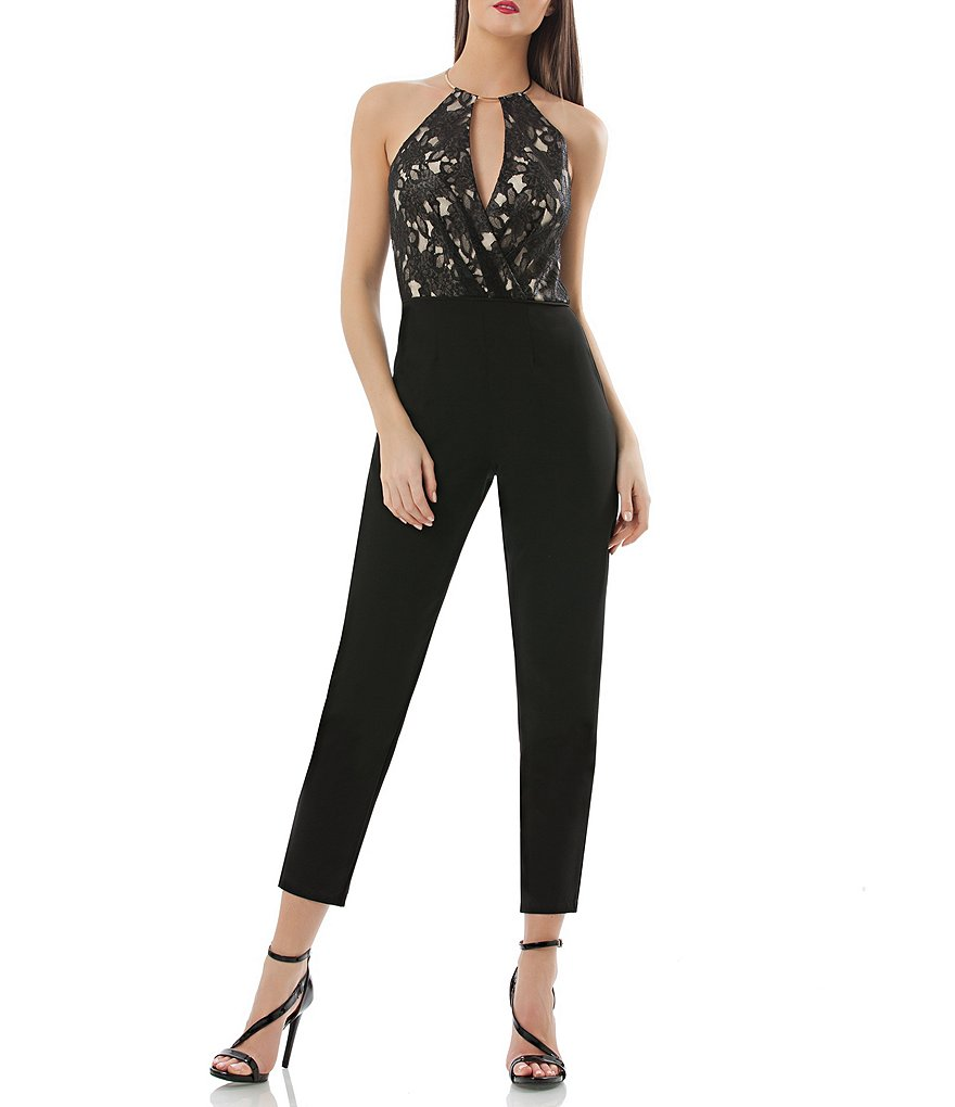 JS Collections Lace Halter Jumpsuit