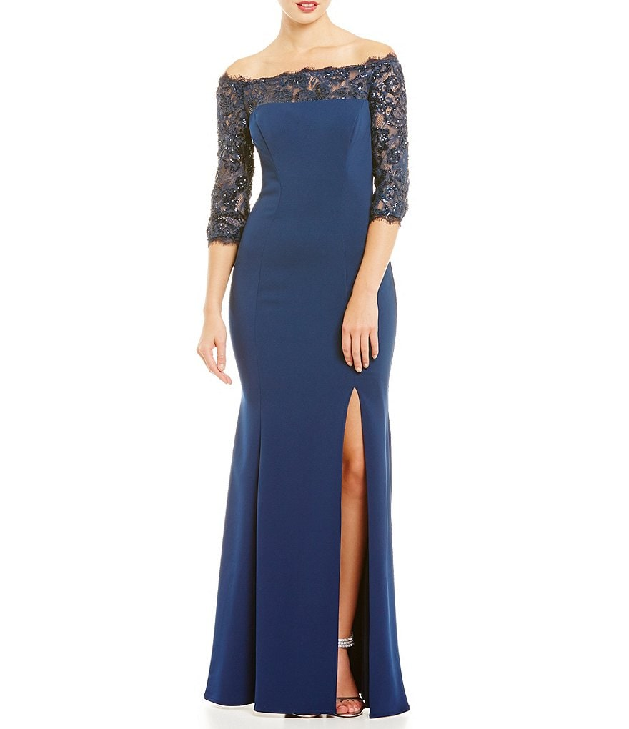 JS Collections Off-The-Shoulder Illusion Lace Gown