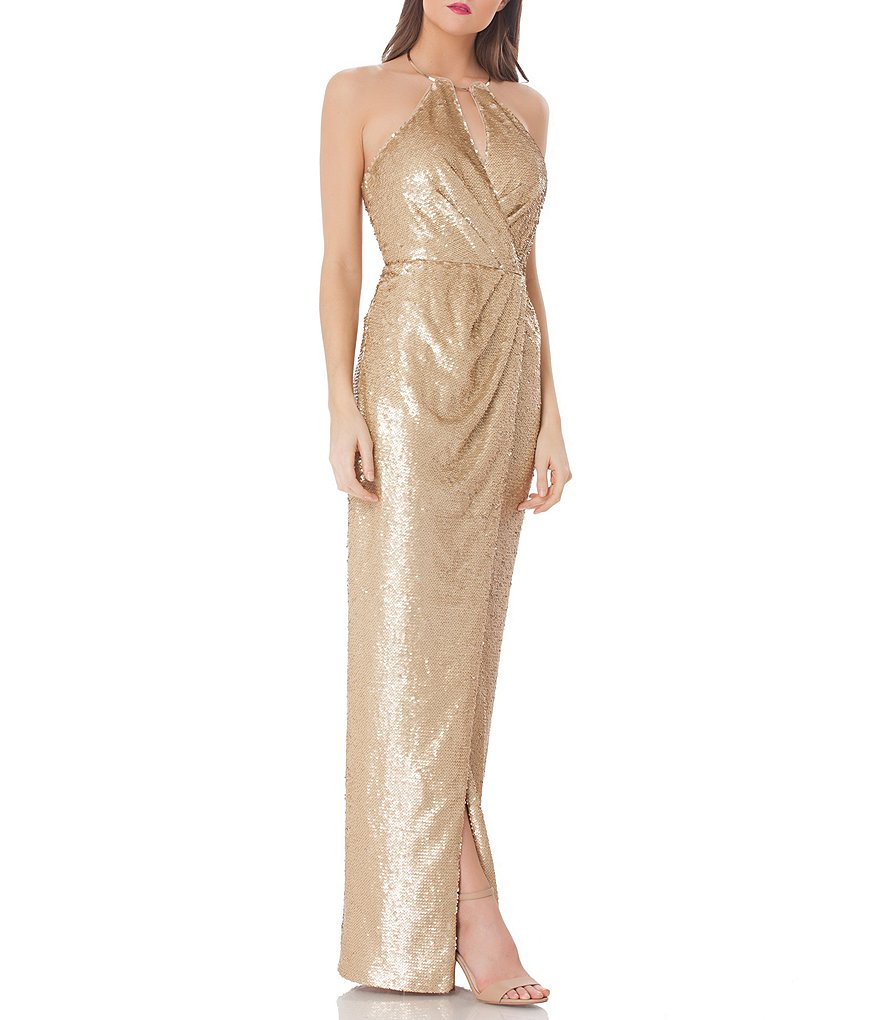 JS Collections Sequin Halter Gown
