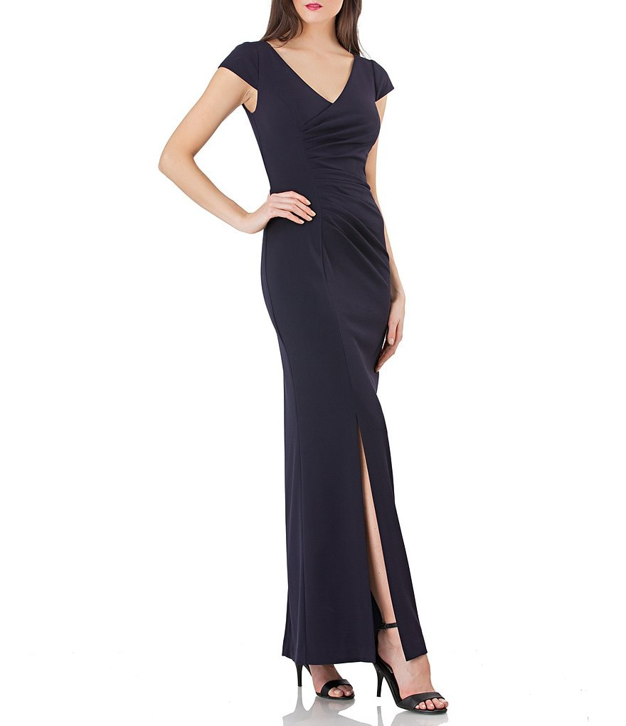 JS Collections Stretch Crepe Ruched Gown