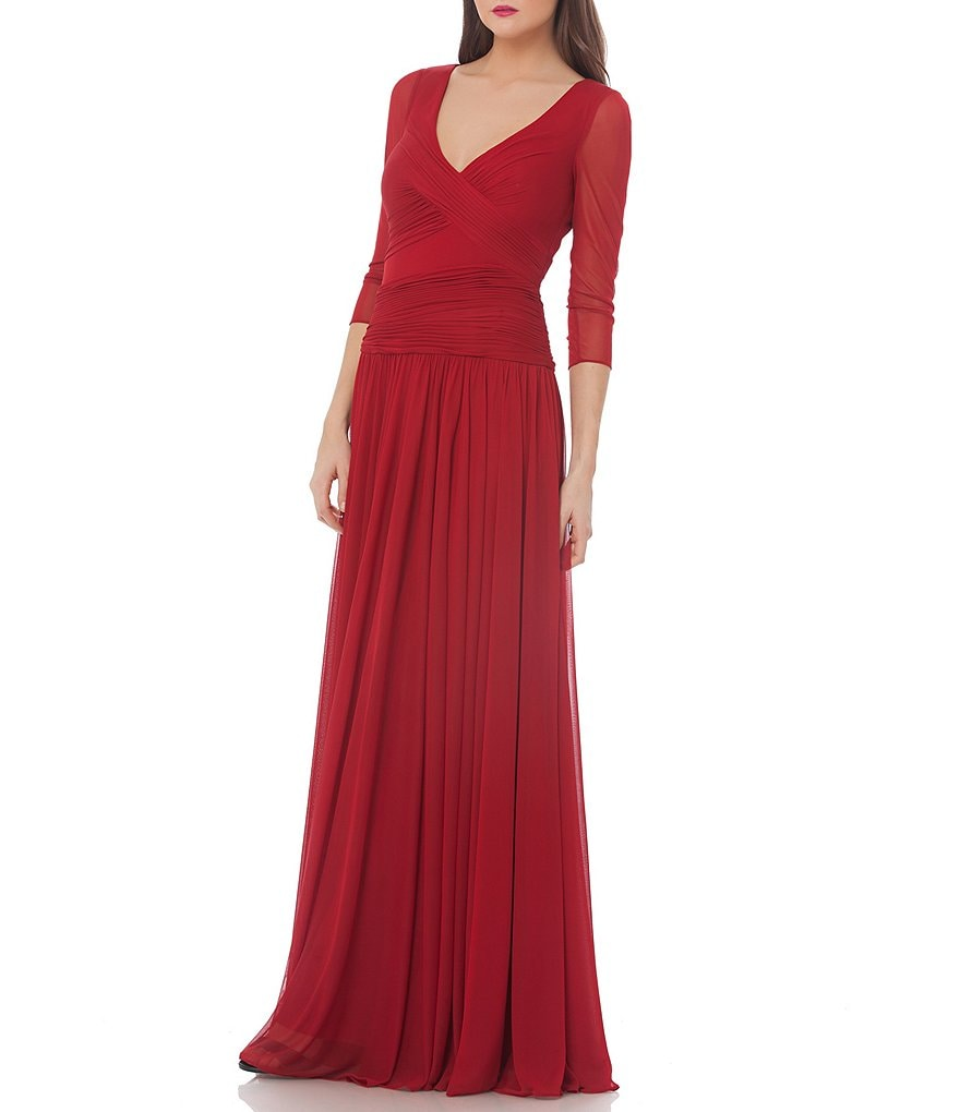 JS Collections Surplice Matte Jersey Gown
