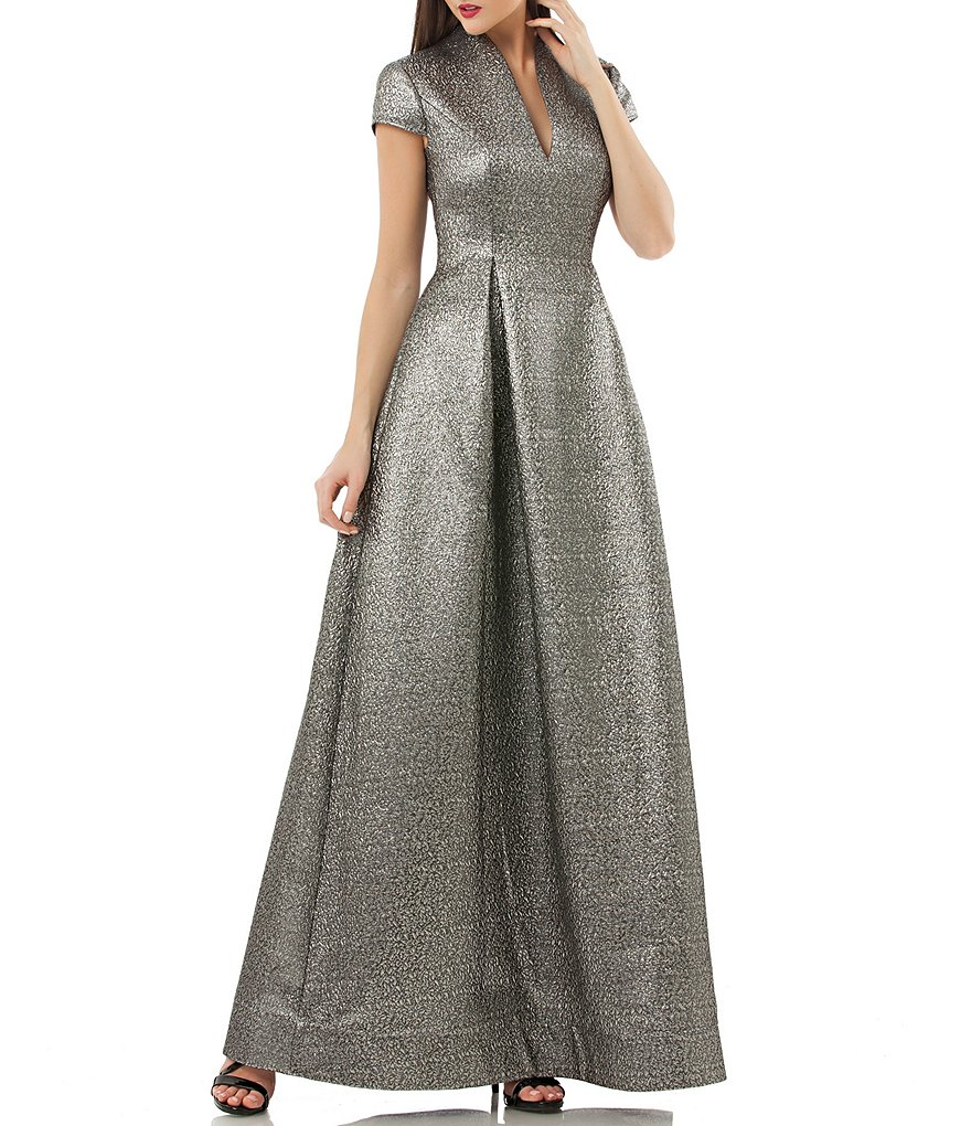 JS Collections V-Neck Metallic Jacquard Gown   Dillards