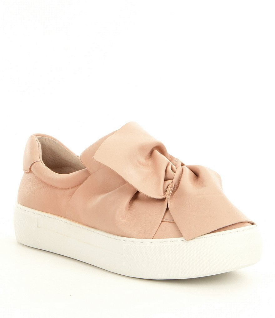 J Slides Annabelle Leather Big Bow Detail Sneakers