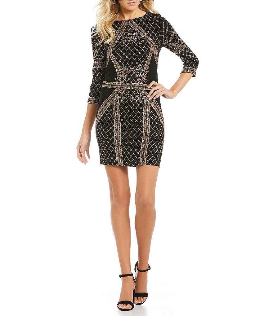 Jump 3/4 Sleeve Glitter-Pattern Dress
