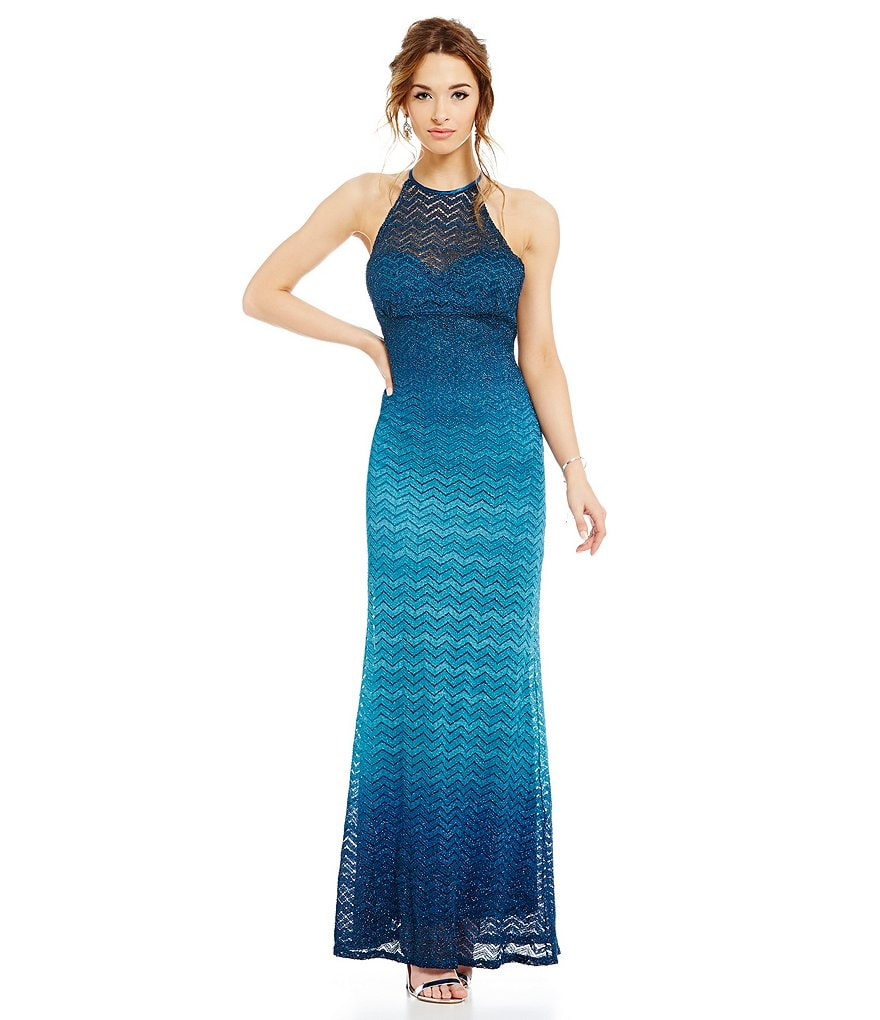 Jump Ombre Chevron High-Neckline Long Lace Gown