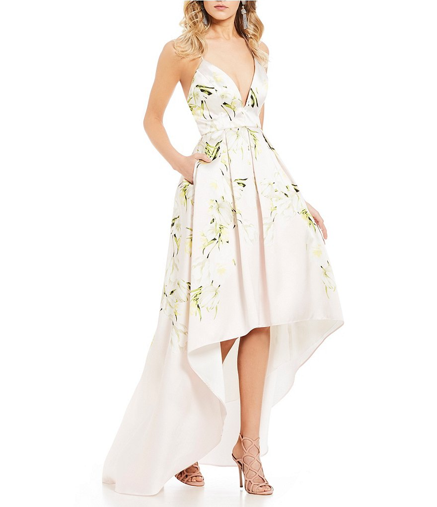 Jump Tulip Floral Print High-Low Ball Gown