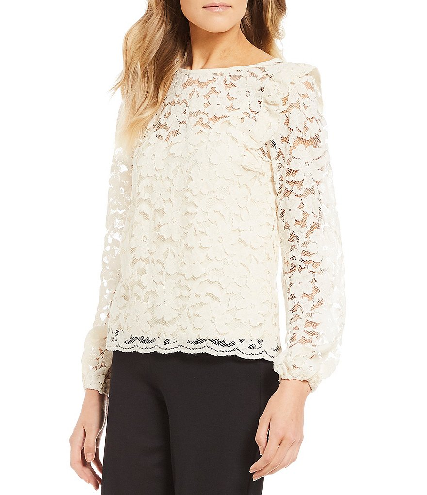 June & Hudson Lace Long Sleeve Top