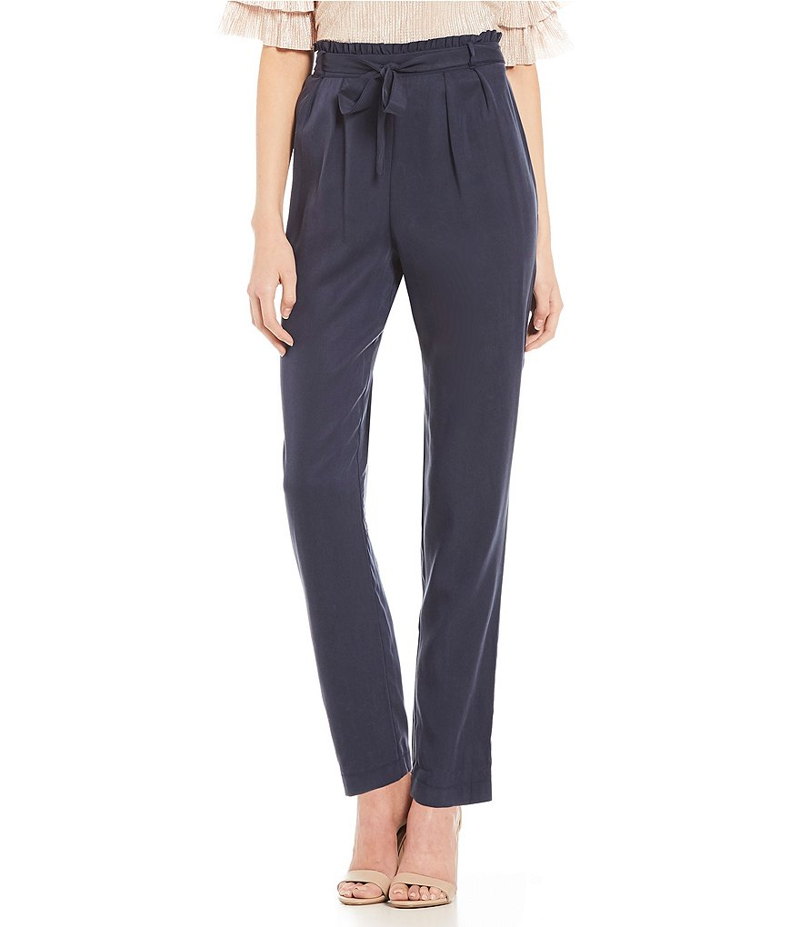 June & Hudson Paper Waist Tie-Front Pleated Pants