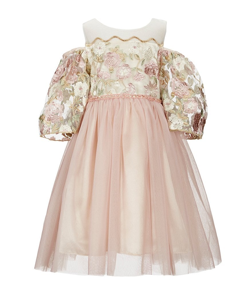Just Another Angel Little Girls 2T-6X Cold-Shoulder Embroidered Dress