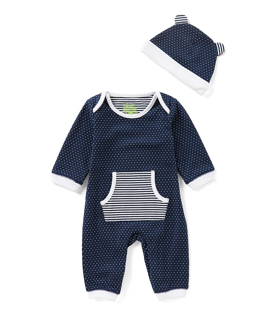 Kapital K Baby Boys Newborn-9 Months Dotted Long-Sleeve Coverall & Matching Hat Set