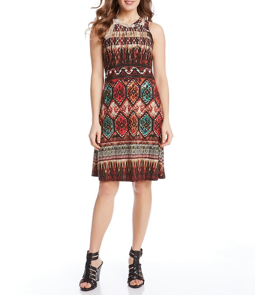 Karen Kane Border Print Shift Dress