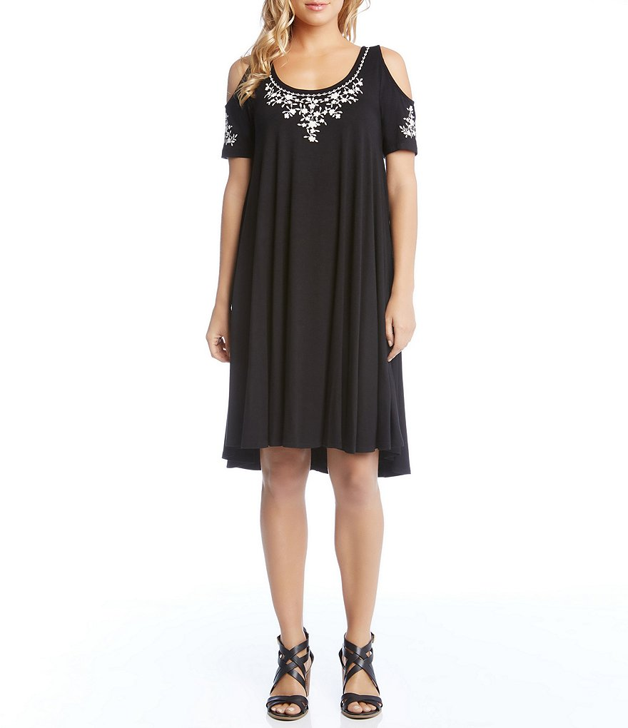Karen Kane Cold Shoulder Embroidered Dress