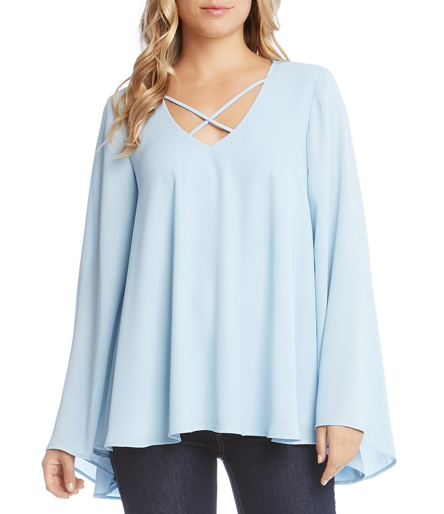 Karen Kane Criss Cross Neck Bell Sleeve Tunic