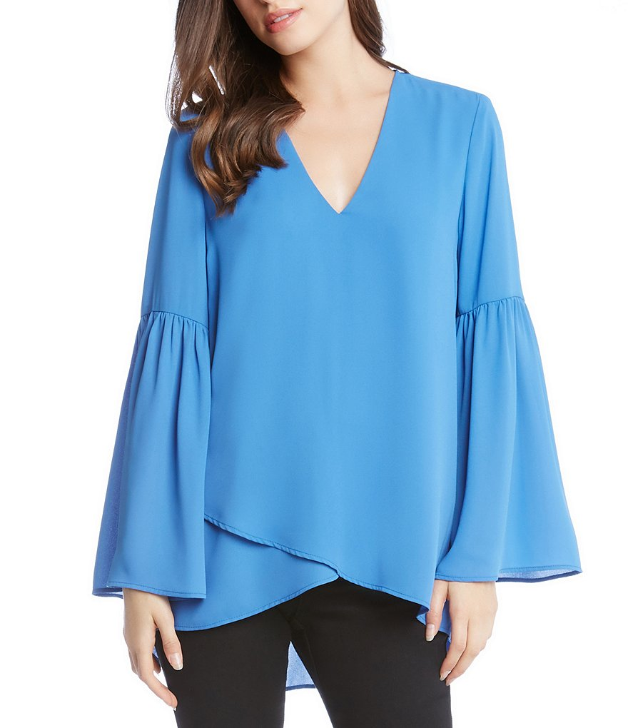 Karen Kane Crossover Bell Sleeve Top