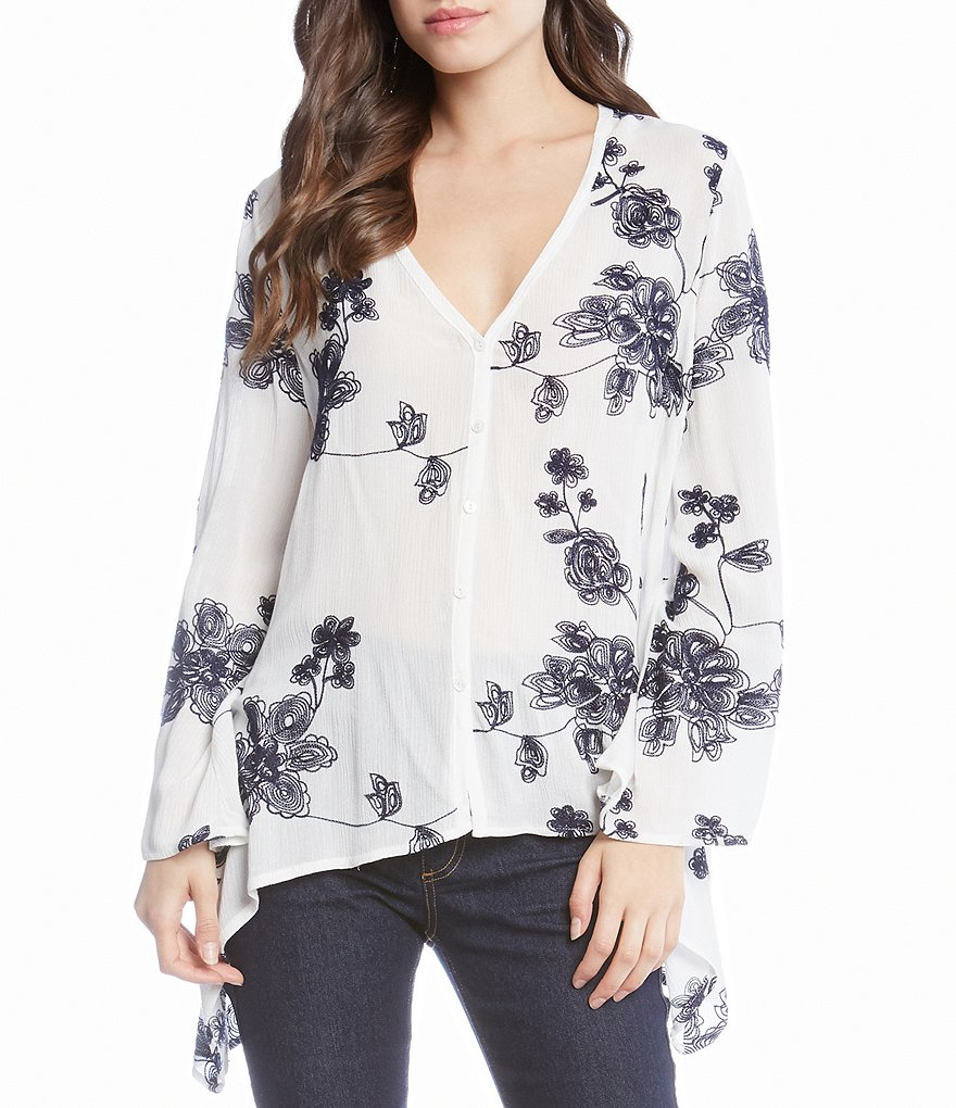 Karen Kane Embroidered Flare Sleeve Blouse