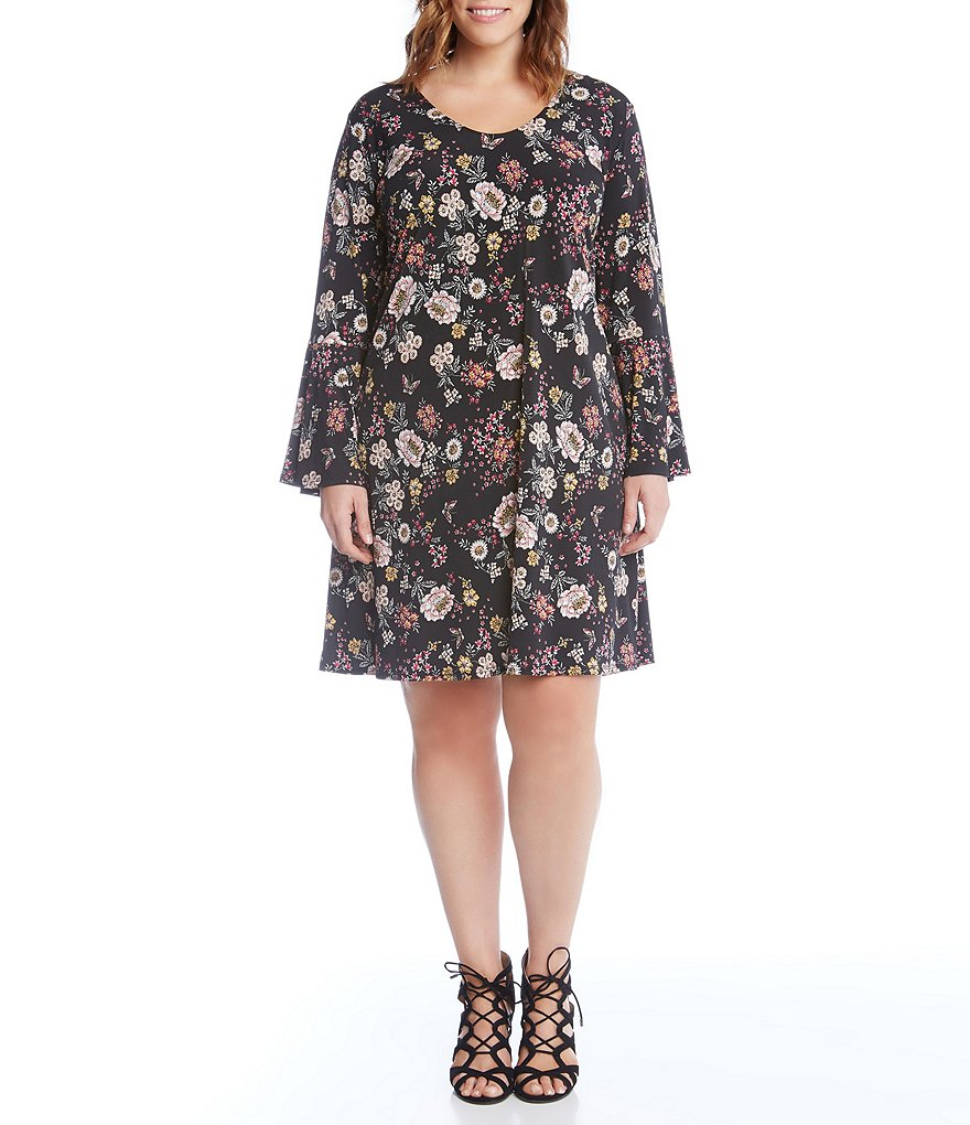 Karen Kane Plus Floral Bell Sleeve Dress