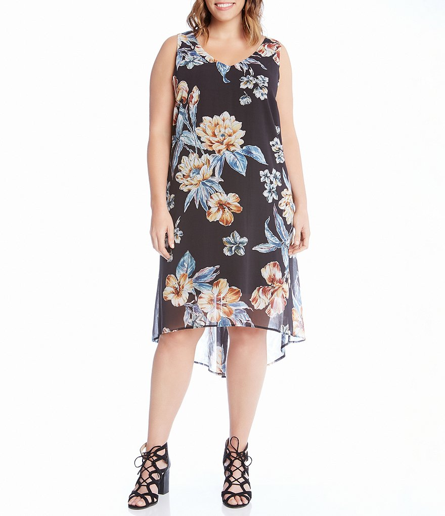 Karen Kane Plus Hi-Lo Hem Dress