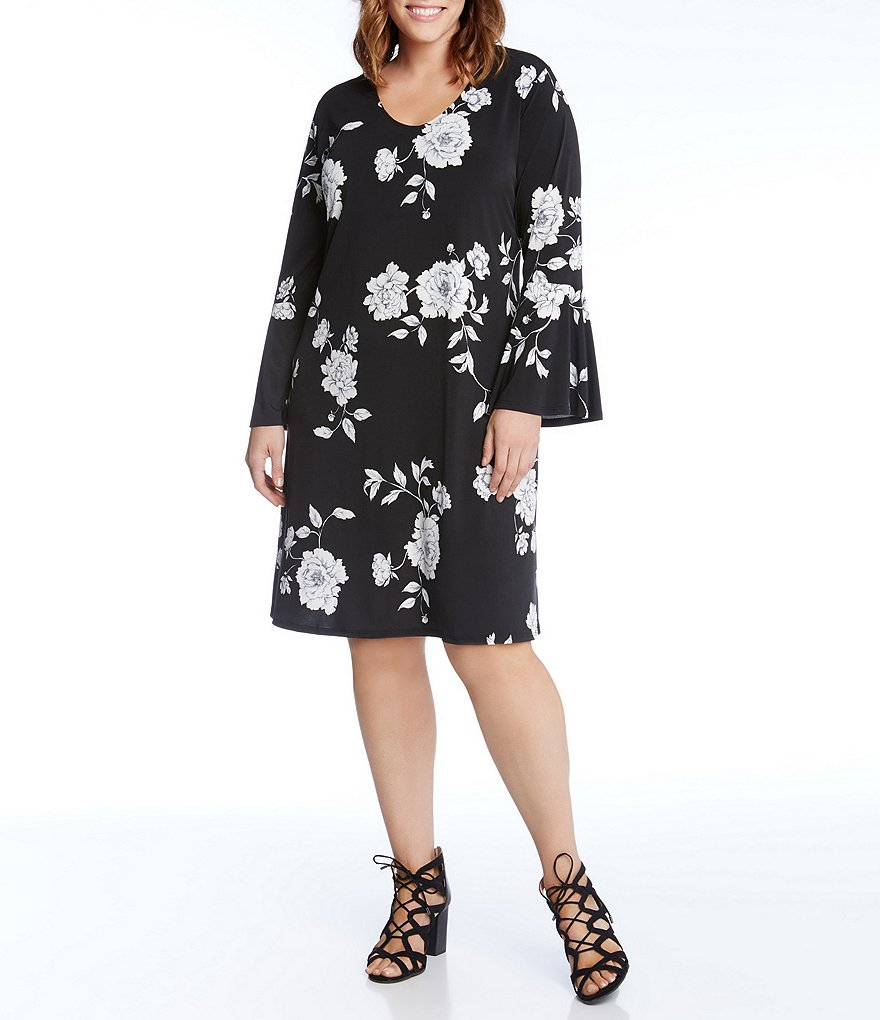 Karen Kane Plus Long Flare Sleeve Taylor Dress