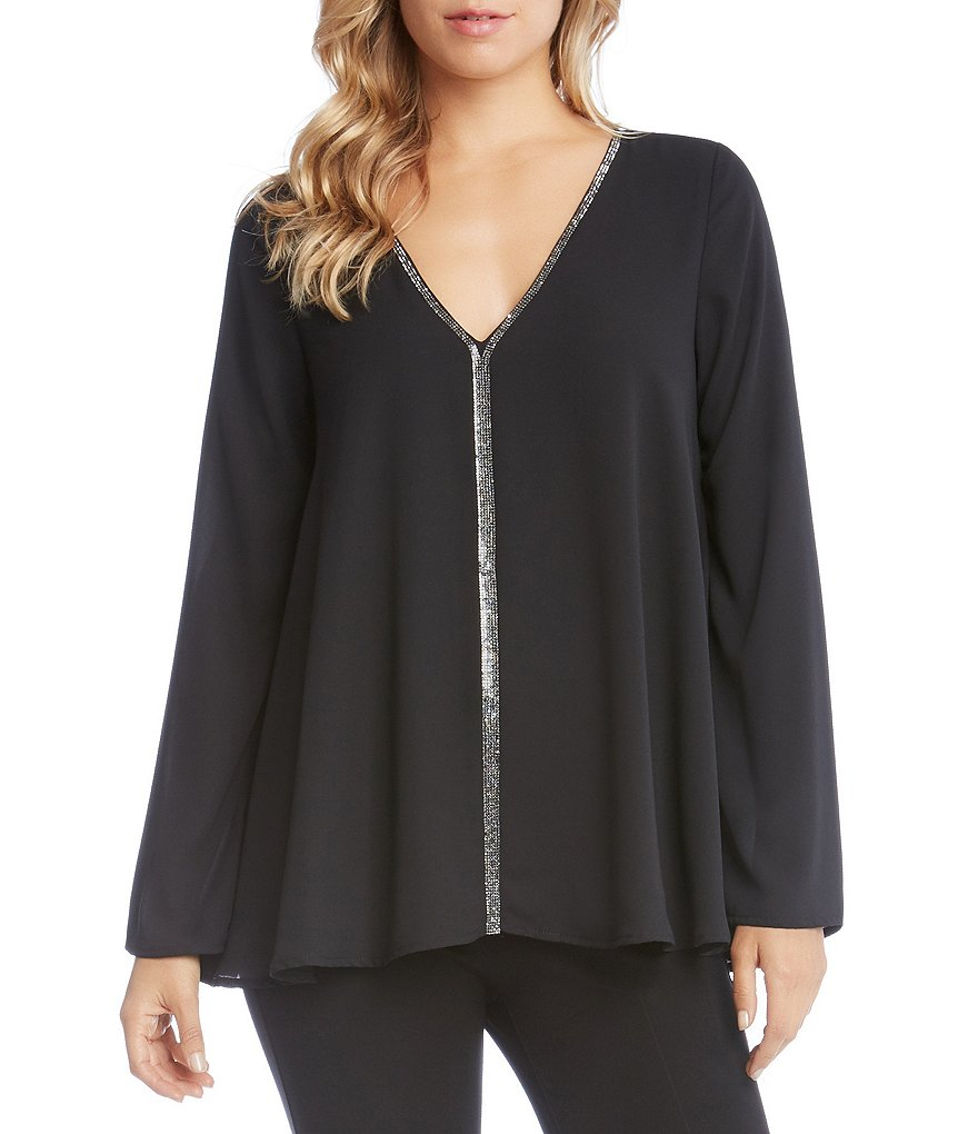 Karen Kane Sparkle Trim Flare Sleeve Top
