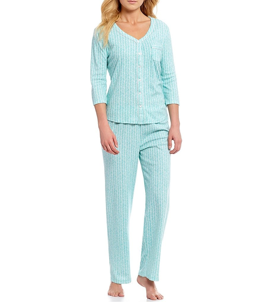 Karen Neuburger Ditsy-Floral Printed Interlock Knit Pajamas